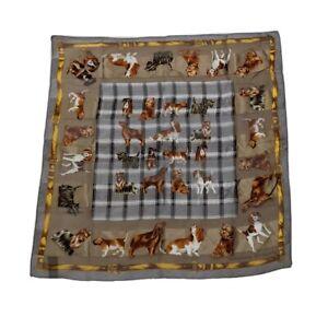 "Adrienne Vittadini 100% silk scarf dog print 20"" x 20"""