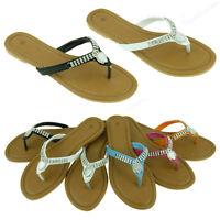 Womens Sandals Cute Dressy Rhinestone Thongs Flats Summer Style Slides Flip Flop