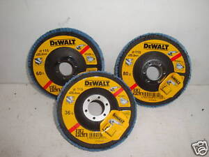 3 X DEWALT 115MM INOX GRINDER FLAP DISCS DT3255 36G DT3256 60G & DT3257 80GRIT