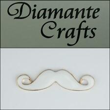 3D Moustache Gold Coloured Alloy White Enamel Decoden DIY Phone Case Deco 2013HZ