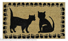 "DOOR MATS - BLACK CATS VINYL BACKED COIR DOORMAT - 18"" X 30"" - WELCOME MAT"