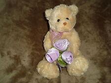 "Gund Teddy Bear FLOWERING FRIENDS lavender colored roses 13"""