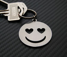 SMILEY LOVE Emoticon Heart Acid Keyring Keychain Key Fob Bespoke Steel Gift