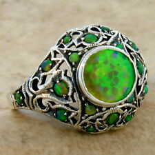 Antique Design Filigree Ring Sz 6,#93 Green Lab Fire Opal .925 Sterling Silver