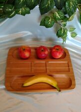 Wooden serving tray, 5 sections, hors d'oeuvres, cheese, crackers, fruit, meats