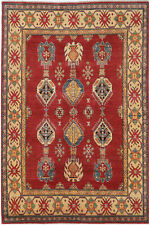 5.5x8 5.5X8 Hand-Knotted Kazak Carpet Tribal Red Fine Wool Area Rug D48579