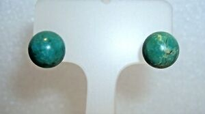 925 STERLING SILVER & NATURAL TURQUOISE STUD EARRINGS
