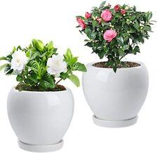 2Pcs Ceramic Plant Pot with Drainage Hole Saucer Modern, 4.8 Inch