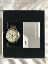 Audi Chronograph Mens Watch - Silver With Genuine Leather Strap.