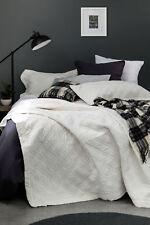 Antique White Quilted Single Bed Velvet Quilt & Pillow Case Set Blanket Cover