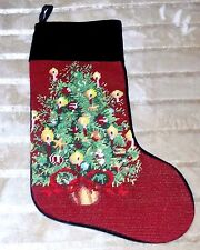 NEEDLEPOINT Christmas Stocking with Potted Christmas Tree Design