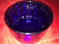 "Large Heavy Hand Blown Art Glass COBALT BLUE Mottled Concave DISH BOWL 6¾"" x 4¼"""