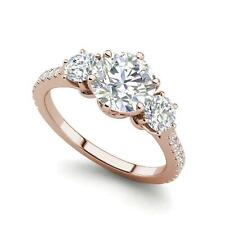 Cut Diamond Engagement Ring Rose Gold Pave 3 Stone 2 Carat Vvs2/F Round