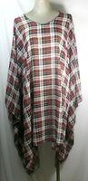 Plus size poncho style top/tunic,checks,red/black or pink/black,size1X-2X,3X-4X