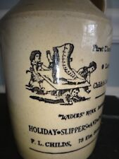 Small Advertising Stoneware Whiskey Jug 'Ladies Rink Boots Ice Skates Doll Shoes