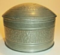 MALAYAN F.M.S. HAMMERED PEWTER DOMED TRINKET BOX- UNUSUAL.