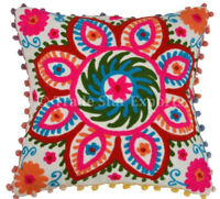 Uzbek Suzani Cushion Cover 16x16 Embroidered Pillow Case Square Throw Cushions