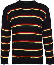 Rasta Crew Neck Long Sleeve Cardigan Red Gold Green Striped Loose Fit Jumper