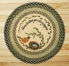 BRAIDED HAND STENCILED ROUND PATCH RUG By EARTH RUGS--ROBINS NEST
