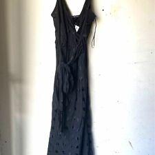 ZARA Polka Dot Jacquard Wrap-belt Midi Slip Dress Black