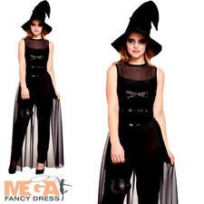 Witch Long Ladies Halloween Fancy Dress Spooky Sorceress Womens Adults Costume