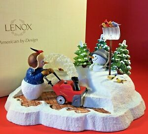LENOX SNOW DAY SURPRISE FIGURINE LYNN BYWATERS RARE SNOWMAN PLOWING NEW IN BOX