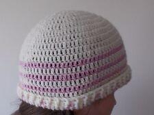 Handmade crochet hat cream and pink for women or girls