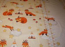 Baumwollstoff kleine Füchse und Indianer orange bunt 1,60m breit Meterware