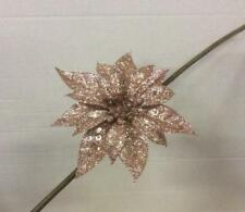 Pack x6 Clip On Flowers Christmas Decorations Glitter Poinsettia Rose Gold 18cm