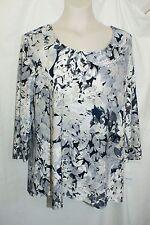 "XL Croft & Barrow Woman Crewneck 3/4 Sleeve ""embossed Look"" Knit Shirt/Top NWT"