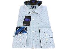 Michelson's London Slim Fit Dress Shirt Light Blue Stripes Size LRG 16 1/2 34/35