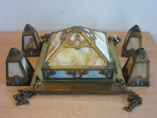 Antique Arts & Crafts Mission Stained glass brass chandelier fixture, 4 pendants