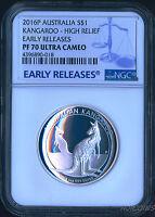 2016 P Australia HIGH RELIEF 1oz Silver Kangaroo $1 Coin NGC PF70 UC ER + OGP