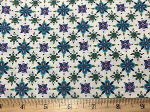 Vintage Cotton Fabric 40s50s PRETTY Purple Green Blue Starbursts 35w 1yd
