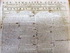 Rare orignl 1779 newspaper AMERICAN REVOLUTIONARY WAR Newcastle Courant ENGLAND