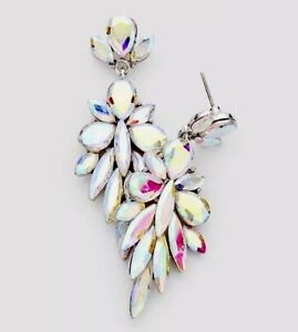 "2.4"" Long Silver Clear Aurora Borealis AB Austrian Crystal Pageant Earrings"