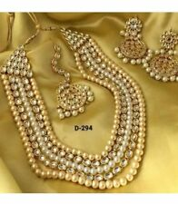 Indian bollywood Fashion jewelry Necklace earring ethnic gold traditional set