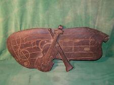antikes Holzbild eiche Geige Violine Instrument mit Sinnspruch selten rar