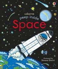 Peep Inside Space by Anna Milbourne Board book Flaps Rocket Ship A11 LL232