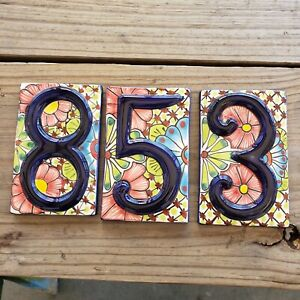 3 Mexican Tile Talavera Ceramic House Numbers Tile BLUE  Choice of Numbers