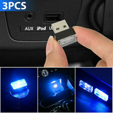 3x Blue Accessories LED USB Car Interior Light Neon Atmosphere Ambient Lamp Bulb