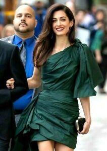 Oscar de la Renta Emerald Green Bow 2019 Silk Celebrity Cocktail Party Dress 4