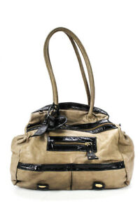 Gustto Womens Leather Patent Leather Satchel Brown Extra Large Handbag