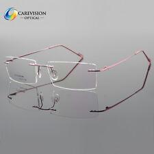 Pure β-Titanium Eyeglass Frames Womens Glass Rimless Pink Spectacles Eyewear Rx