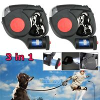 2x 5M 3 LED Dog Traction Rope Automatic Retractable Leash w/ Garbage Bag Black