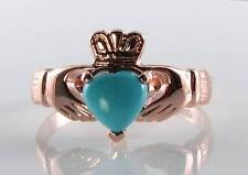 LOVELY 9K 9CT ROSE GOLD CLADDAGH PERSIAN TURQUOISE HEART RING FREE RESIZE