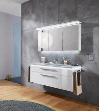 Puris Badmöbel COOL LINE 12 - Polarweiß Hochglanz - Glas-Waschtisch 120 cm