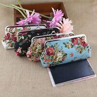 AU_ Women Retro Flower Coin Purse Money Phone Bag Case Wallet Card Pouch Hasp Fi