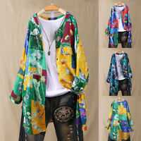 Womens Long Sleeve Floral Print Tops Button  Summer Holiday Tunic Shirts Blouse