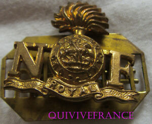 dIN132 - WWI NORTHUMBERLAND FUSILIERS Shoulder Title with Back Plate